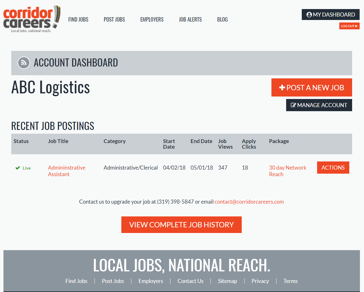 Corridor Careers Employer Dashboard