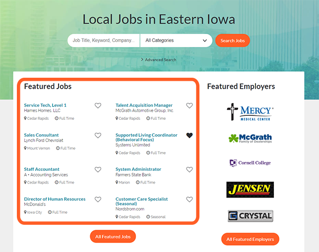 Featured Jobs on Corridor Careers appear on the home page throughout their 30 day listing