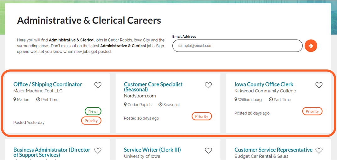 Priority Jobs on Corridor Careers get placed at the top of their category page regardless of age.