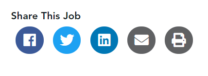 Sharing buttons on OPTiN Careers