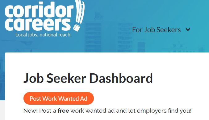 Job seeker dashboard on Corridor Careers